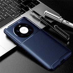 Silicone Candy Rubber TPU Twill Soft Case Cover for Huawei Mate 40 Pro+ Plus Blue