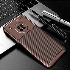 Silicone Candy Rubber TPU Twill Soft Case Cover for Huawei Y9a Brown