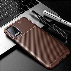 Silicone Candy Rubber TPU Twill Soft Case Cover for LG Q52 Brown