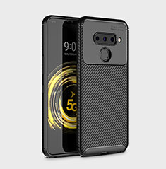 Silicone Candy Rubber TPU Twill Soft Case Cover for LG V50 ThinQ 5G Black