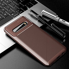 Silicone Candy Rubber TPU Twill Soft Case Cover for LG V60 ThinQ 5G Brown