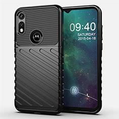 Silicone Candy Rubber TPU Twill Soft Case Cover for Motorola Moto E (2020) Black