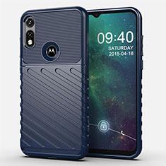 Silicone Candy Rubber TPU Twill Soft Case Cover for Motorola Moto E (2020) Blue