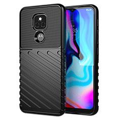 Silicone Candy Rubber TPU Twill Soft Case Cover for Motorola Moto E7 Plus Black