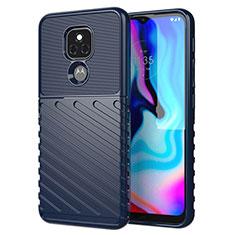 Silicone Candy Rubber TPU Twill Soft Case Cover for Motorola Moto E7 Plus Blue