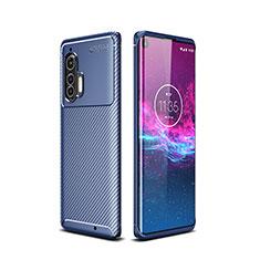 Silicone Candy Rubber TPU Twill Soft Case Cover for Motorola Moto Edge Plus Blue