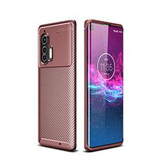 Silicone Candy Rubber TPU Twill Soft Case Cover for Motorola Moto Edge Plus Brown