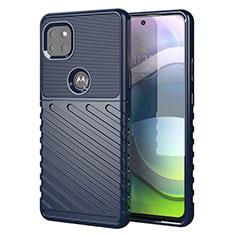 Silicone Candy Rubber TPU Twill Soft Case Cover for Motorola Moto G 5G Blue