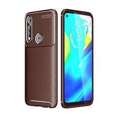 Silicone Candy Rubber TPU Twill Soft Case Cover for Motorola Moto G Power Brown