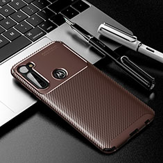 Silicone Candy Rubber TPU Twill Soft Case Cover for Motorola Moto G Stylus Brown