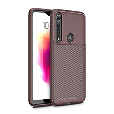Silicone Candy Rubber TPU Twill Soft Case Cover for Motorola Moto G8 Play Brown
