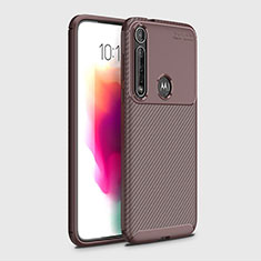 Silicone Candy Rubber TPU Twill Soft Case Cover for Motorola Moto G8 Plus Brown
