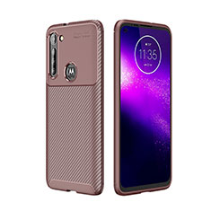 Silicone Candy Rubber TPU Twill Soft Case Cover for Motorola Moto G8 Power Brown