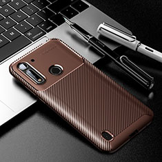 Silicone Candy Rubber TPU Twill Soft Case Cover for Motorola Moto G8 Power Lite Brown