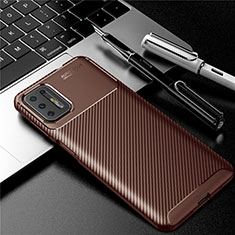 Silicone Candy Rubber TPU Twill Soft Case Cover for Motorola Moto G9 Plus Brown