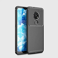 Silicone Candy Rubber TPU Twill Soft Case Cover for Nokia 7.2 Black
