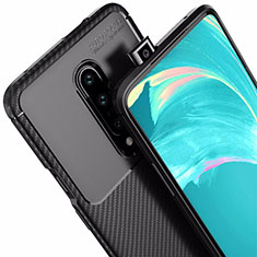 Silicone Candy Rubber TPU Twill Soft Case Cover for OnePlus 7 Pro Black