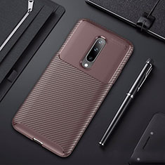 Silicone Candy Rubber TPU Twill Soft Case Cover for OnePlus 7 Pro Brown