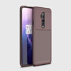 Silicone Candy Rubber TPU Twill Soft Case Cover for OnePlus 7T Pro Brown