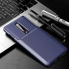 Silicone Candy Rubber TPU Twill Soft Case Cover for OnePlus 8 Blue