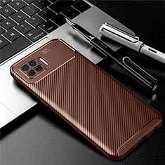 Silicone Candy Rubber TPU Twill Soft Case Cover for Oppo A73 (2020) Brown