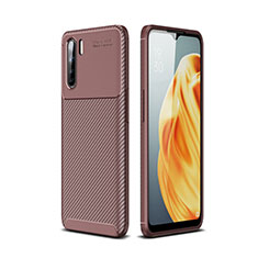 Silicone Candy Rubber TPU Twill Soft Case Cover for Oppo A91 Brown