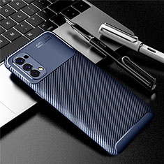 Silicone Candy Rubber TPU Twill Soft Case Cover for Oppo Reno4 4G Blue