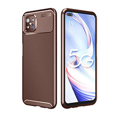 Silicone Candy Rubber TPU Twill Soft Case Cover for Oppo Reno4 Z 5G Brown