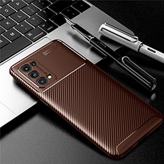 Silicone Candy Rubber TPU Twill Soft Case Cover for Oppo Reno5 Pro 5G Brown