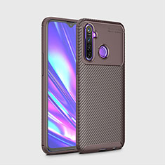 Silicone Candy Rubber TPU Twill Soft Case Cover for Realme 5i Brown