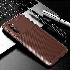 Silicone Candy Rubber TPU Twill Soft Case Cover for Realme 6 Brown