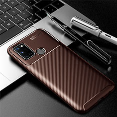 Silicone Candy Rubber TPU Twill Soft Case Cover for Realme 7i Brown