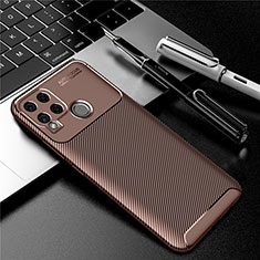 Silicone Candy Rubber TPU Twill Soft Case Cover for Realme C15 Brown