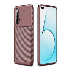 Silicone Candy Rubber TPU Twill Soft Case Cover for Realme X3 Brown