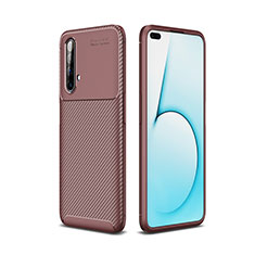 Silicone Candy Rubber TPU Twill Soft Case Cover for Realme X50m 5G Brown