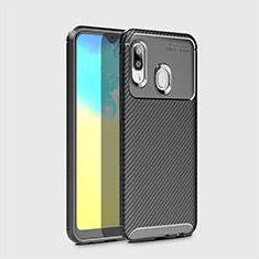 Silicone Candy Rubber TPU Twill Soft Case Cover for Samsung Galaxy A20e Black