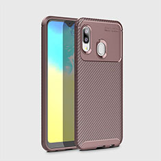 Silicone Candy Rubber TPU Twill Soft Case Cover for Samsung Galaxy A20e Brown