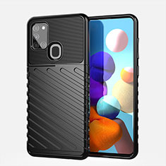 Silicone Candy Rubber TPU Twill Soft Case Cover for Samsung Galaxy A21s Black