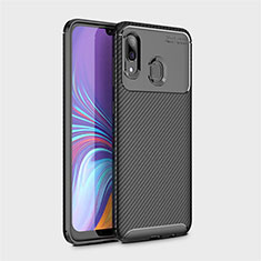 Silicone Candy Rubber TPU Twill Soft Case Cover for Samsung Galaxy A40 Black