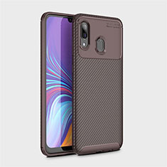 Silicone Candy Rubber TPU Twill Soft Case Cover for Samsung Galaxy A40 Brown
