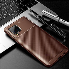 Silicone Candy Rubber TPU Twill Soft Case Cover for Samsung Galaxy A42 5G Brown