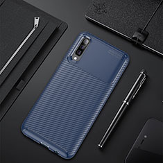 Silicone Candy Rubber TPU Twill Soft Case Cover for Samsung Galaxy A50 Blue