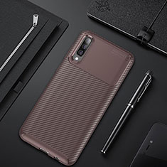 Silicone Candy Rubber TPU Twill Soft Case Cover for Samsung Galaxy A50 Brown