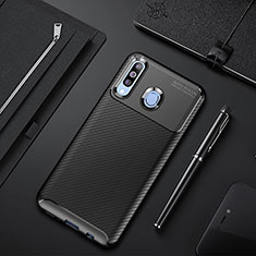 Silicone Candy Rubber TPU Twill Soft Case Cover for Samsung Galaxy A60 Black