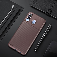 Silicone Candy Rubber TPU Twill Soft Case Cover for Samsung Galaxy A60 Brown