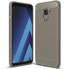 Silicone Candy Rubber TPU Twill Soft Case Cover for Samsung Galaxy A8+ A8 Plus (2018) A730F Gray