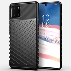 Silicone Candy Rubber TPU Twill Soft Case Cover for Samsung Galaxy A81 Black