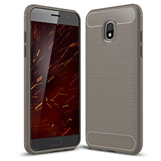 Silicone Candy Rubber TPU Twill Soft Case Cover for Samsung Galaxy J3 Star Gray