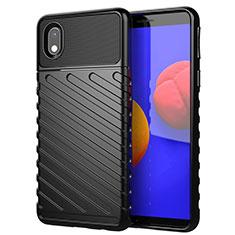 Silicone Candy Rubber TPU Twill Soft Case Cover for Samsung Galaxy M01 Core Black