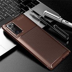 Silicone Candy Rubber TPU Twill Soft Case Cover for Samsung Galaxy Note 20 Ultra 5G Brown